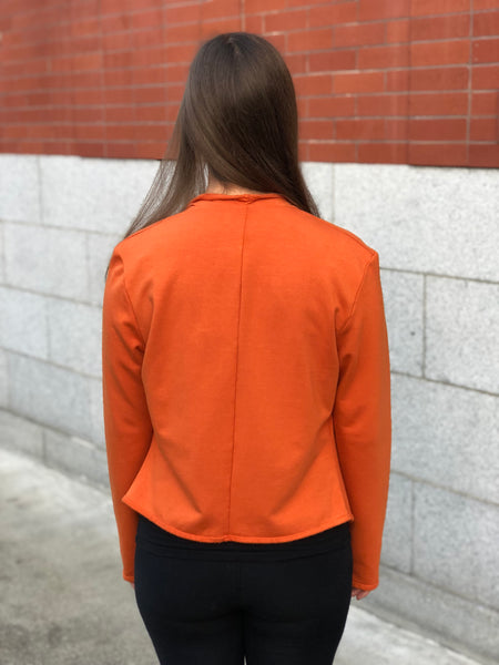 Back view of the cropped bamboo jacket in bamboo fleece.