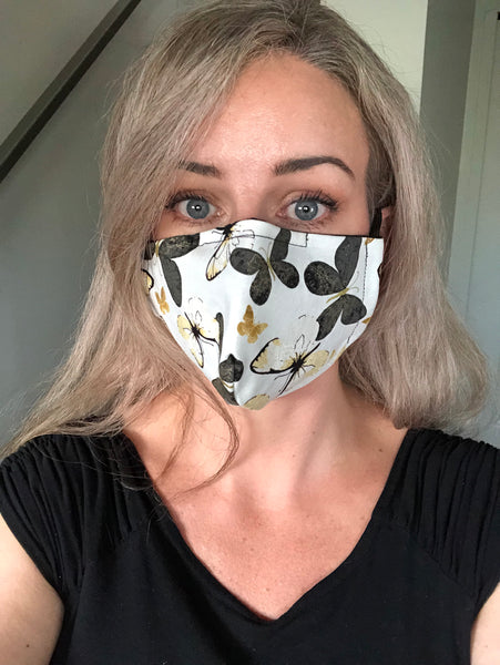 Cloth Face mask fitting- butterfly print