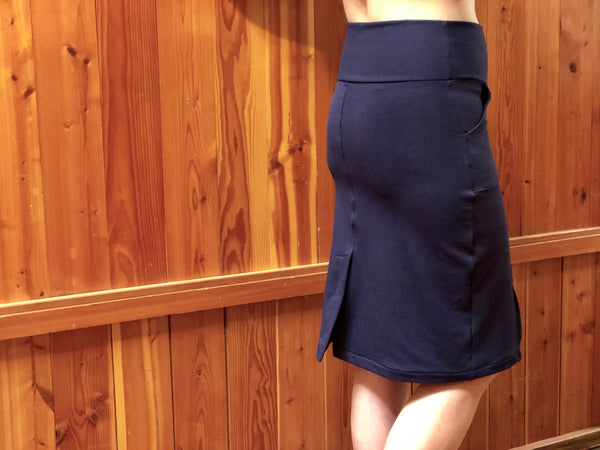 Back view of the bamboo skirt in pencil cut.