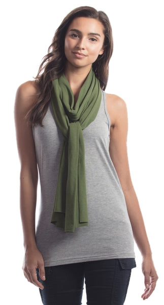 Olive green bamboo scarf.