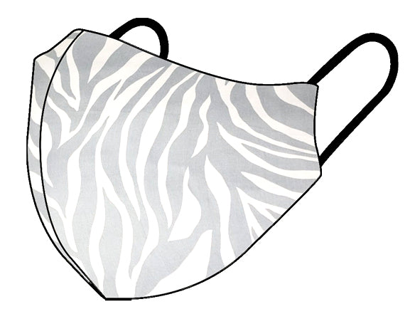 Grey Zebra Cotton Face Mask