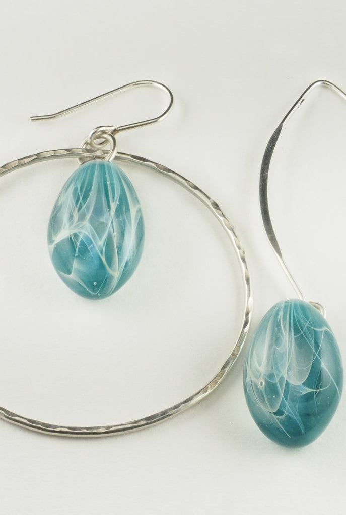Aqua Glass Drop with Silver Hoop Earring