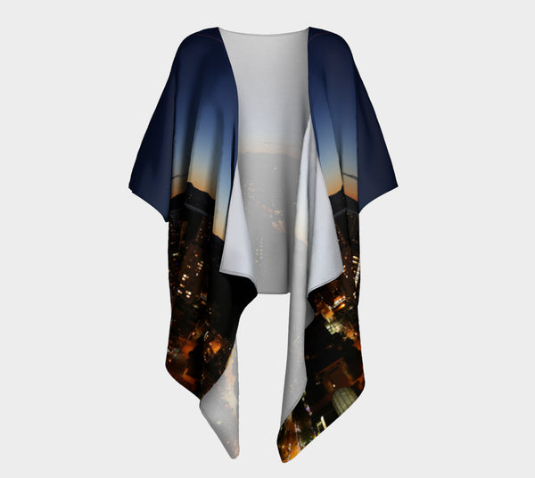 Vancouver at Night Draped Kimono