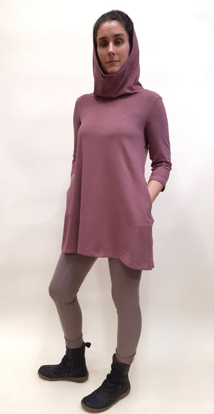 Hemp hooded tunic w/pocket - Black or Rose Brown