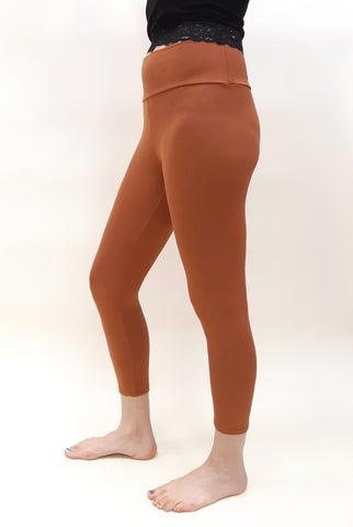 Bamboo Capri Leggings - Rust / Heather Rose