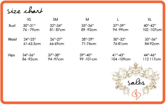 Size chart for the bamboo skirt.