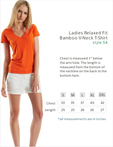Size chart for the bamboo t shirt.