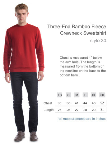 Size chart for the bamboo sweater.