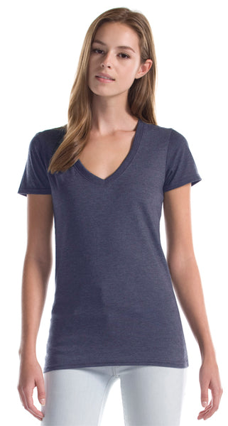 Heather Navy bamboo t shirt v neck cut.