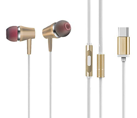 IVON Type C Metal Earphone with Mic with Free Metal Case Compatible for All Smartphones, Tablets, Laptops, Computers Etc. - EZELLER
