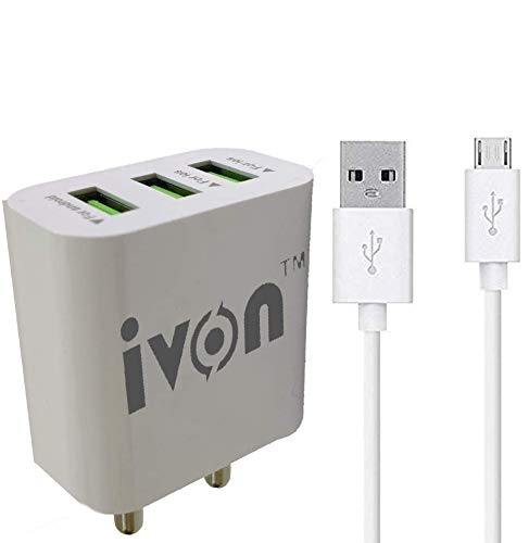 IVON 3 USB Port Charger Adapter 4.0 A | 5V with Mirco USB Cable for All Mobilephones, Tablets Etc(2 Year Warranty)