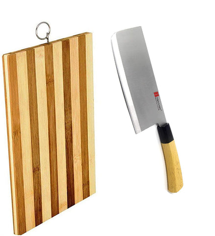 Guns Ceramic Meat Cleaver Knife 7 Inches + Wooden Chopping Board  Durable Life for Cutting Meat Chicken Cheese Vegetable fruits EZ634