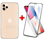IPHONE 11 PRO (2N1) Combo Pack FULL TEMPERED GLASS + Back Screen Protector By Tel, Ultra clear, 3D Carbon Fiber Ultra-Thin, Full Glue Tempered + Back Cover Mobile Screen protector - EZELLER