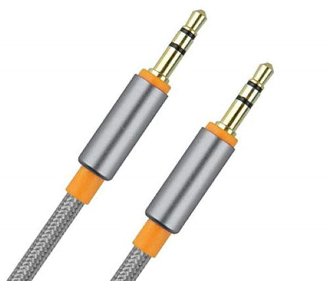 KIN AUX Cable 1 Meter 3.5 mm Rugged Nylon Braided Gold Plated 3.5mm Jack M2M (Assorted Clrs) - EZELLER