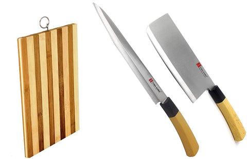 Guns Ceramic Knife Strong & Long (Combo 3 Pack) Meat Cleaver Knife + Sashimi Paring Knife + Eco-Friendly Wooden Chopping Board for Cutting Slice Dice Steak Meat Chicken Cheese Vegetable Fruits EZ639