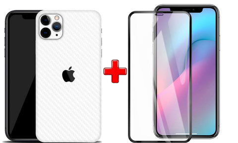 IPHONE 11 PRO MAX (2N1) Combo Pack FULL TEMPERED GLASS + Back Screen Protector By Tel, Ultra clear, 3D Carbon Fiber Ultra-Thin, Full Glue Tempered + Back Cover Mobile Screen protector - EZELLER