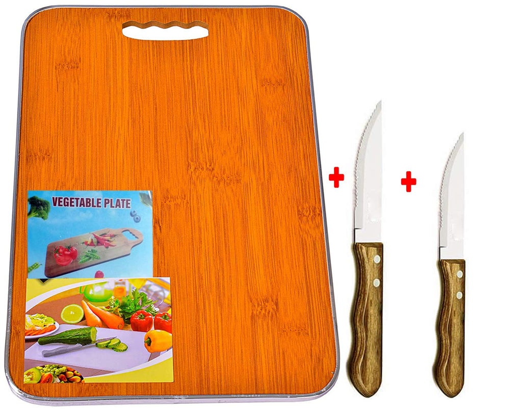 Rocket Cutting Board Lite Weight (Metal Covered Edges) with Wooden Knifes 2 Packs Combo -Premium Quality Organic Wood Cutting Board for Kitchen-Chopping Board for Meat & Veggies- Natural Serving Trays