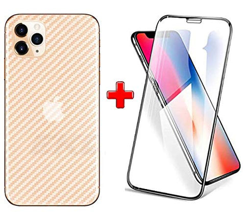 IPHONE 11 (2N1) Combo Pack FULL TEMPERED GLASS + Back Screen Protector By Tel, Ultra clear, 3D Carbon Fiber Ultra-Thin, Full Glue Tempered + Back Cover Mobile Screen protector - EZELLER