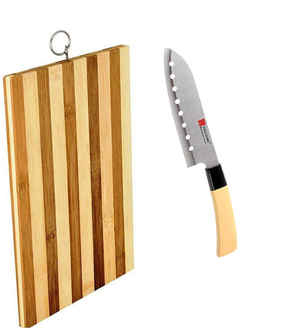 "Guns Ceramic Santoku Blade Japanese Knife with Holes Long  7"" Inches Sharp + Wooden Chopping Board Durable Life for Cutting Meat Chicken Cheese Vegetable fruits EZ633"