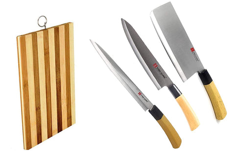 Guns Ceramic Knife Essential Kitchen Combo (4 pack) Chef Sashimi Paring Knife + Meat Cleaver Knife + Multi-Purpose Knife + Wooden Chopping Board for Cutting Slice Dice Steak Meat Chicken Cheese Vegetable fruits Knife EZ643