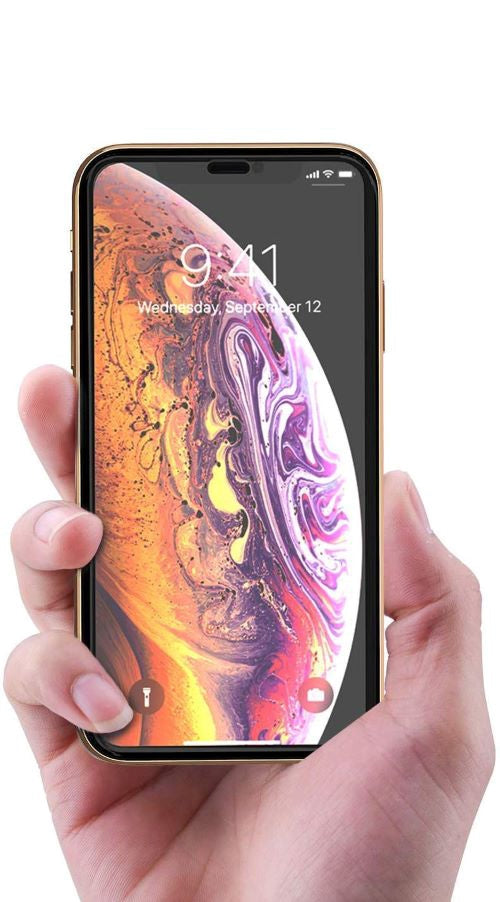 iPhone Xs MAX Full Tempered Glass 11D by Tel, Ultra Clear, Zero Bubbles, Sensitive Touch,9H Hardness, Anti-Scratch, Anti Oil Stains & Full Glue Tempered Mobile Screen Protector - EZELLER