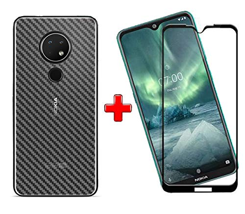 Nokia 7.2 (2N1) Combo Pack FULL TEMPERED GLASS + Back Screen Protector By Tel, Ultra clear, 3D Carbon Fiber Ultra-Thin, Full Glue Tempered + Back Cover Mobile Screen protector - EZELLER