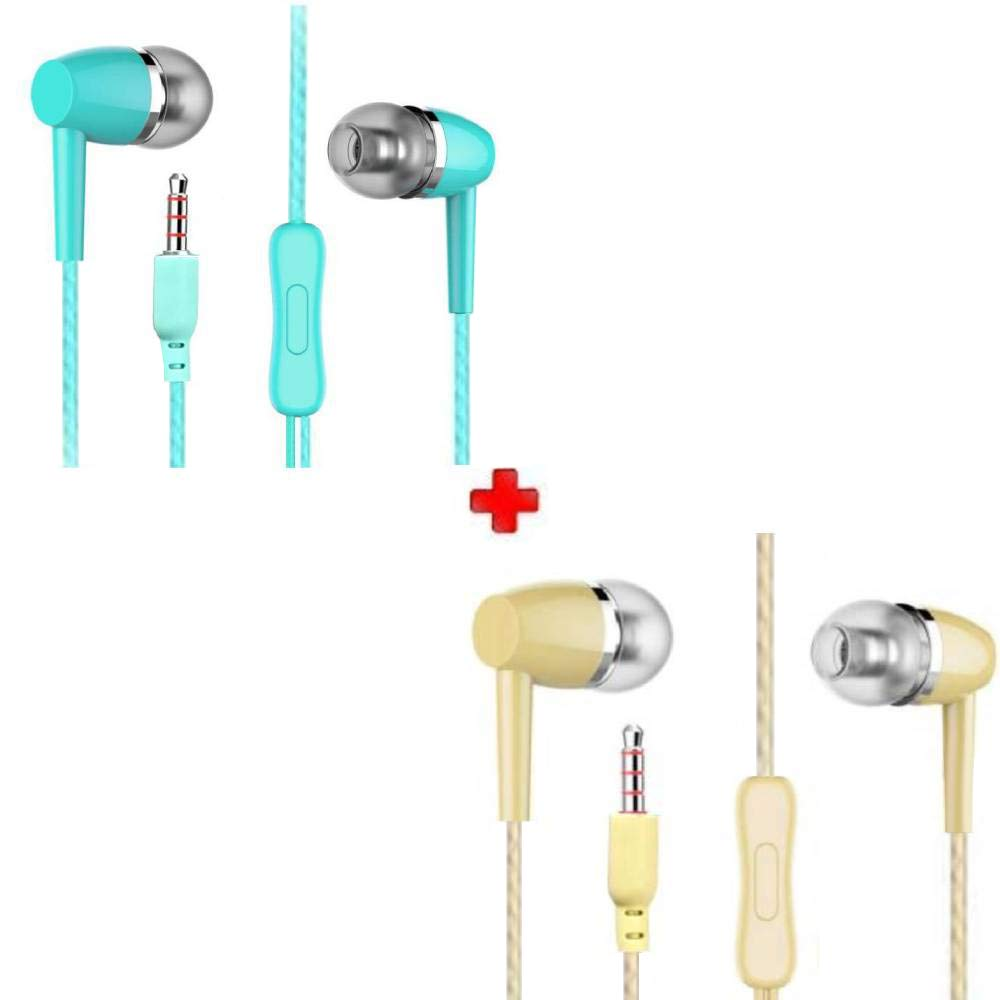 Bspower Super Bass Audio Stereo Earphone (Pack of 2) 3.5mm Pin Compatible with Android Mobiles Tablets iPhone IPad Laptops & All 3.5mm Gadgets
