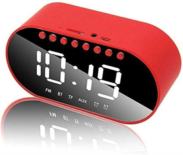 Alarm Clock Digital LED Clear Night Vision Display with FM Radio, Bluetooth Speaker - EZELLER