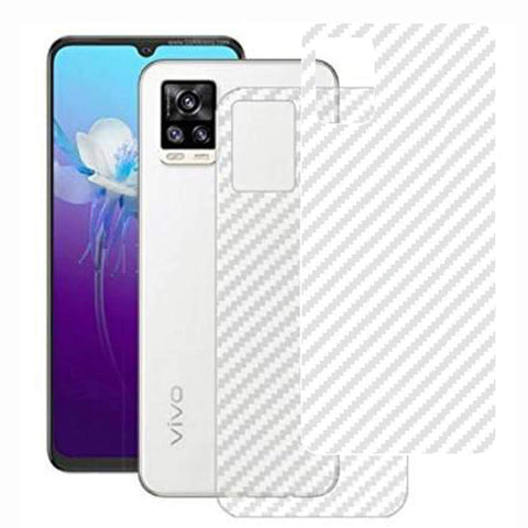 VIVO V20 Back Screen Protector by Ctel, 3D Back Skin Carbon Fiber Ultra-Thin Protective Film (2 Packs) Transparent Back Cover for VIVO V20