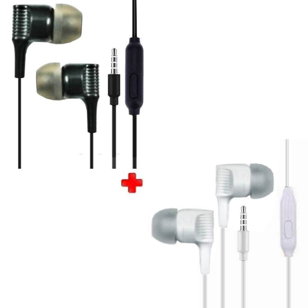 Rock Stars 2 Packs Earphone with Mic Compatible with All Mobile Phones, Tablets, iPhone, IPad, laptops Etc.