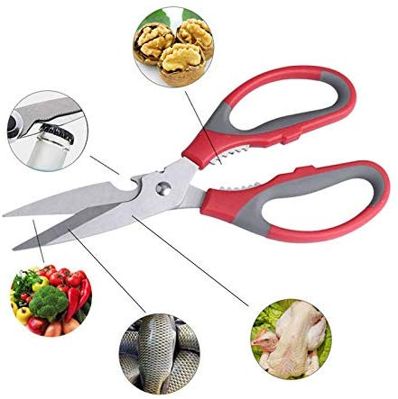Multi-Purpose Stainless Steel Kitchen Scissors Bottle Opener for Fish Scales, Walnut, Shrimp, Crab, Chicken Etc EZ530 - EZELLER