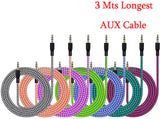 Aux Cable for Car 9 Feet Long & Strong Nylon Braided Audio Auxiliary cable 3.5mm M2M for Cars, Speakers, Headsets Supported all Universal 3.5mm jack - EZELLER