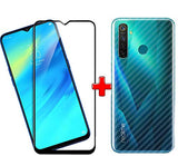 REALME 5 PRO (2N1) Combo Pack FULL TEMPERED GLASS + Back Screen Protector By Tel, Ultra clear, 3D Carbon Fiber Ultra-Thin, Full Glue Tempered + Back Cover Mobile Screen protector - EZELLER