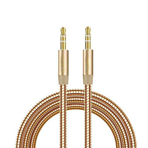 Metal Aux Cable 3.5mm Auxiliary Audio Male to Male Cable Zinc Alloy AUX Cord for Smartphones - EZELLER