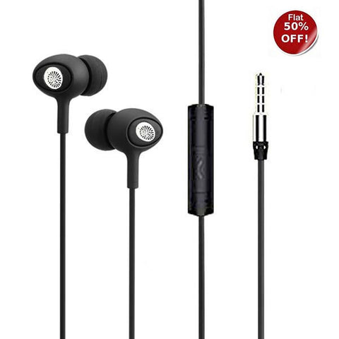 Bass Heads in-Ear super Xtra bass with MIC universal support 3.5mm pin headset- EZ180- Black Magic - EZELLER