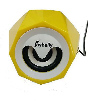 Jaybelly Speaker 3.5 mm Universal supported Wired Stereo Speaker EZ045-Yellow - EZELLER
