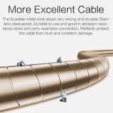 Metal Aux Cable 3.5mm Auxiliary Audio Male to Male Cable Zinc Alloy AUX Cord for Smartphones
