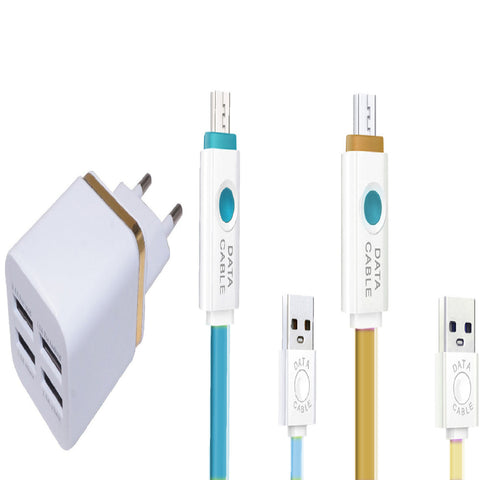 COMBO-Hi Speed - Smart Wall Charger 4 USB units of Flat Data cableEZ145 - EZELLER