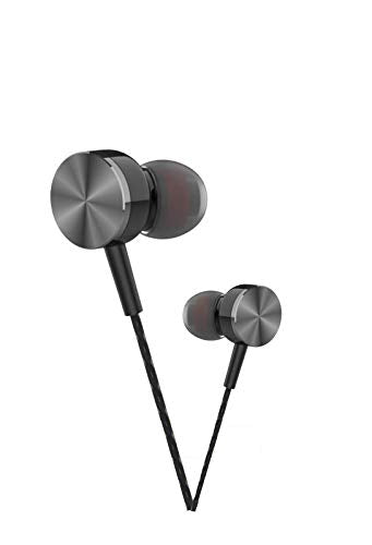 Metallic Style Earphone with Mic Compatible with All Android Mobile Phones, Tablets, iPhone, IPad, Laptops & All 3.5mm Gadgets Bspower EZ467 (Black) - EZELLER