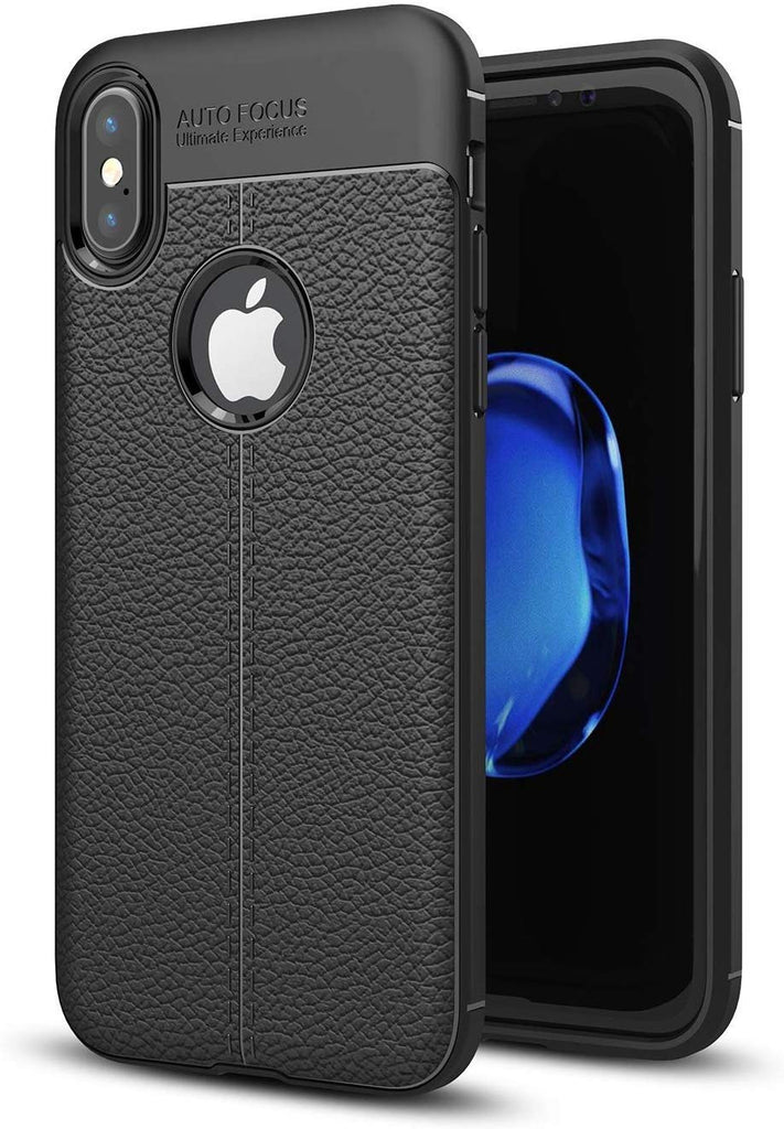 Autofocus Case for iPhone X Cover [Leather Texture Design-100 Import] Rugged TPU Material EZ327 - EZELLER