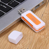 2 Packs of 4n1 USB 2.0 Card Reader Rugged + Transparent Supported Memory Cards
