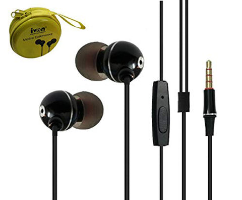 Tiny Metal Earphone with Mic Gold Plated 3.5mm Jack with Free Metal Case Compatible for All Smartphones, Tablets, Laptops, Computers Etc