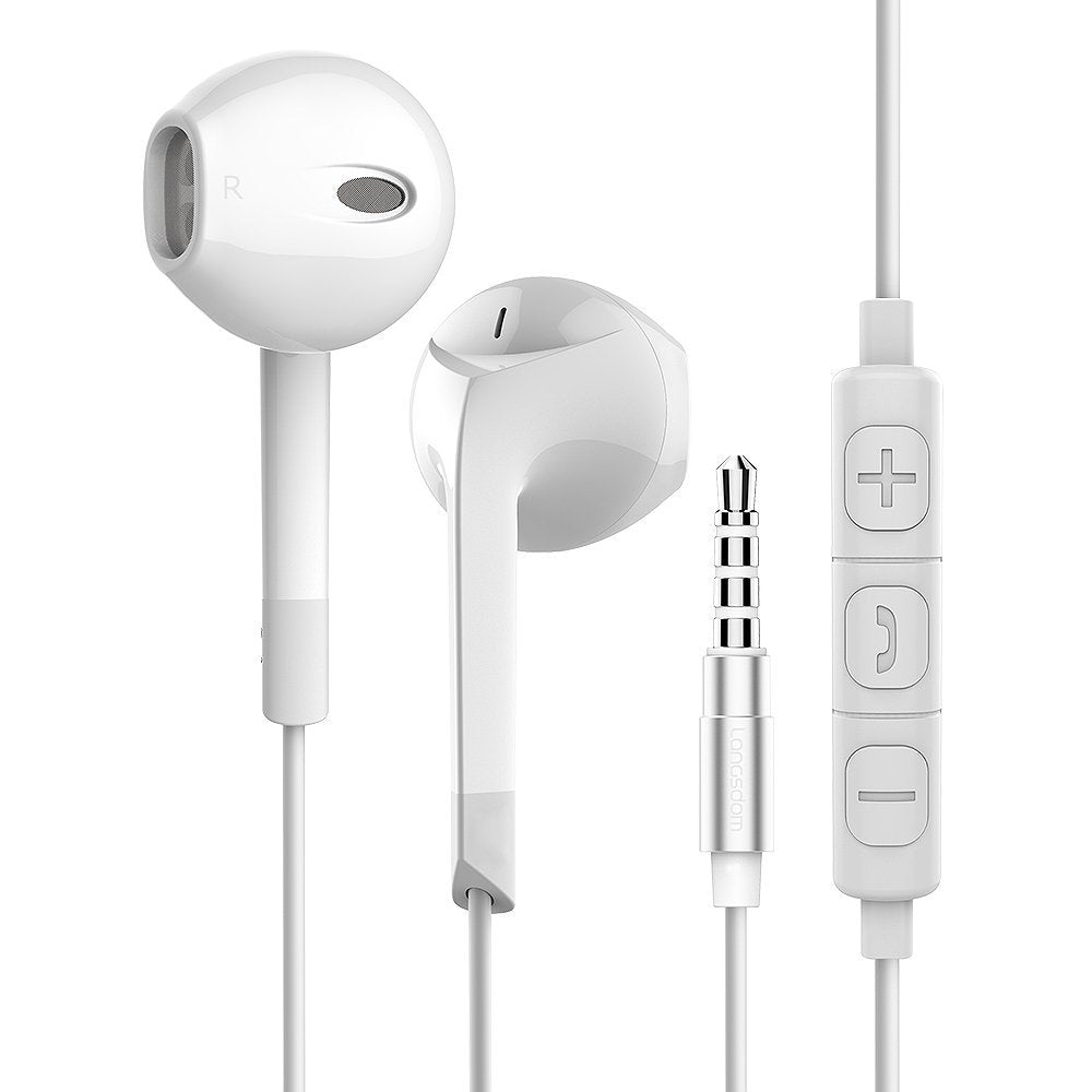 Headphone Earbuds with Microphone and Volume Control EZ374-WHITE - EZELLER