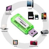 Portable 4 in 1 Memory Card Reader Multi Card Reader USB 2.0 All in One Card Reader - EZELLER