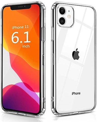 Focus Case Compatible for iPhone 11 Transparent Back Case with Side Gripper + Hard TPU Bumper and Clear Back Cover, Protective Shockproof Heavy Duty Case Cover for iPhone 11 - EZELLER