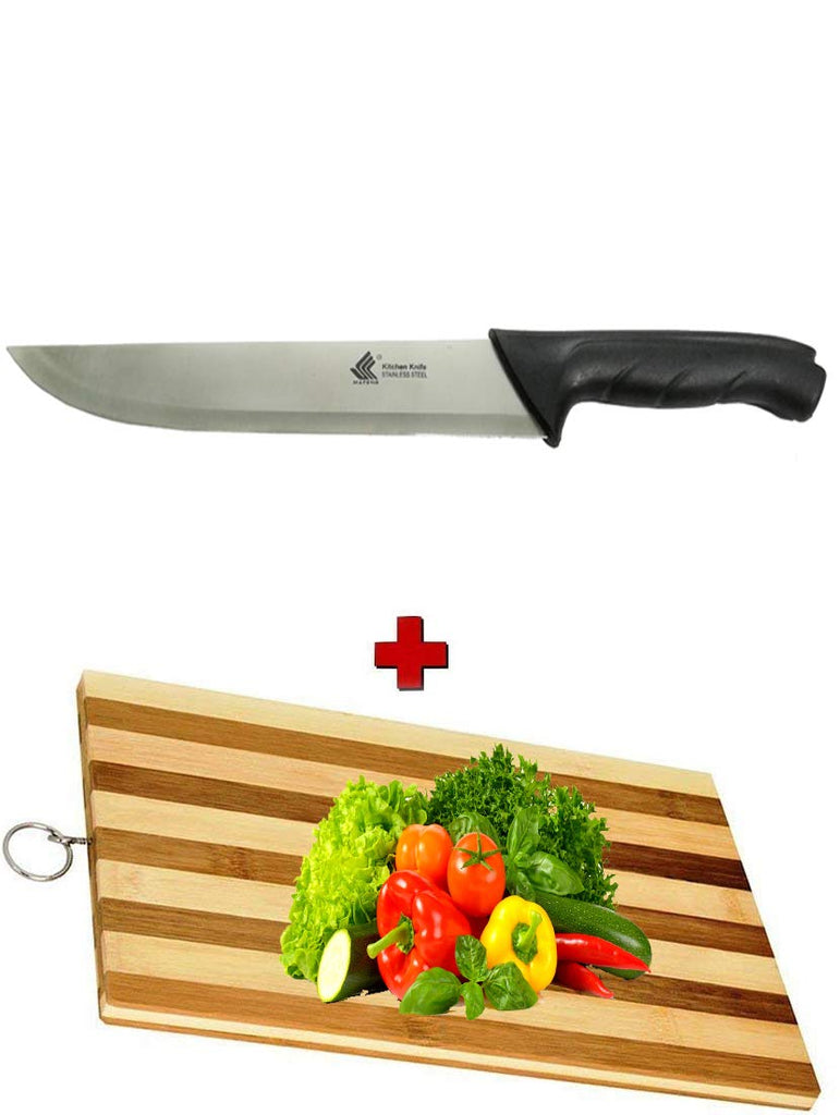 "Multi Purpose Large 9"" inches Knife + Wooden Chopping Boards Stainless Steel Rugged MaterialEZ478"