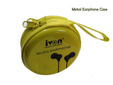 Tiny Metal Earphone with Mic Gold Plated 3.5mm Jack with Free Metal Case Compatible for All Smartphones - EZELLER