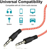 Aux Cable for Car 9 Feet Long & Strong Nylon Braided Audio Auxiliary cable 3.5mm M2M for Cars, Speakers, Headsets Supported all Universal 3.5mm jack Like Mobile phones, Car Music Systems, TV's, Laptops, Tablets, PC - EZELLER