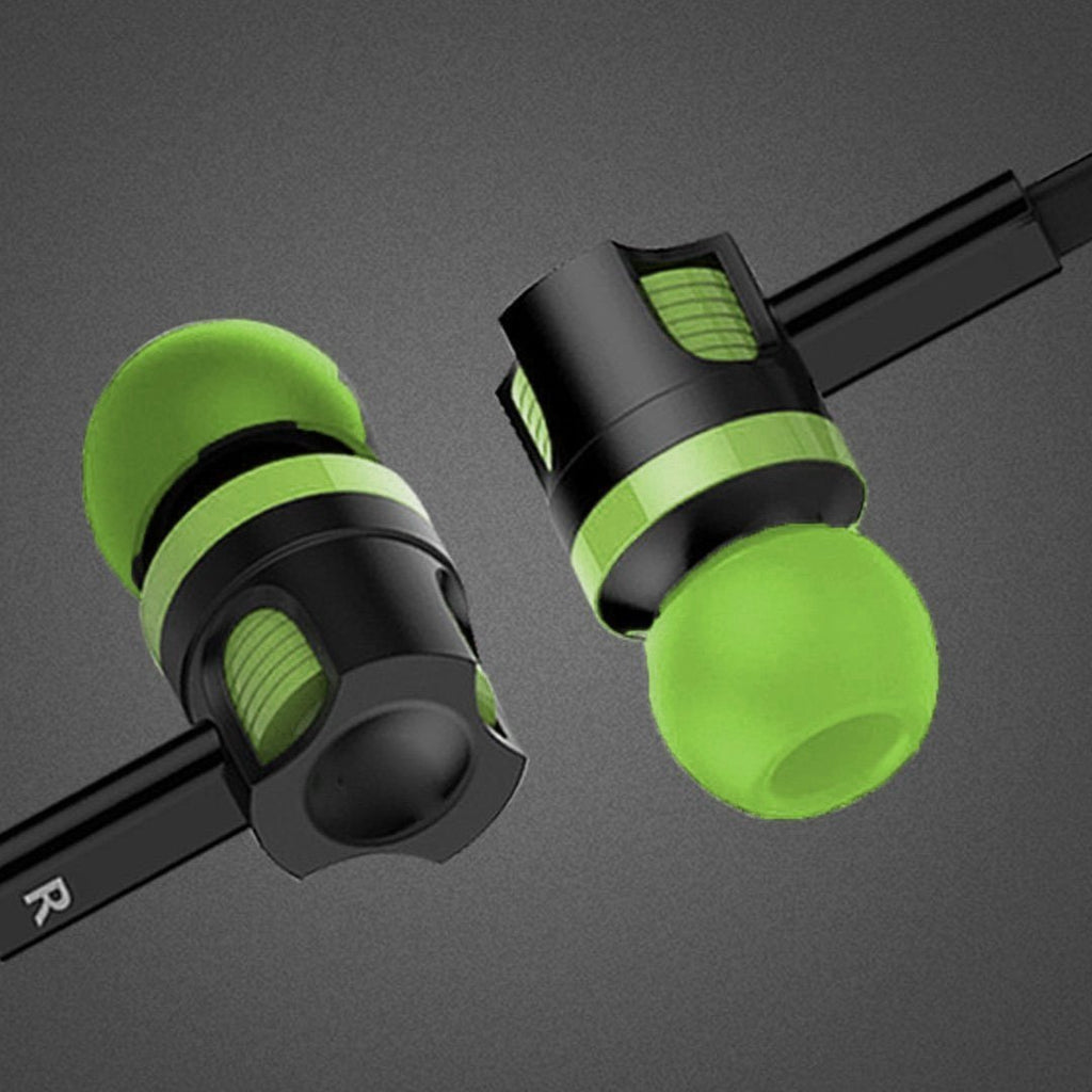 Rugged head in-ear Headphone/ear phone with MIC EZ186-GREEN - EZELLER