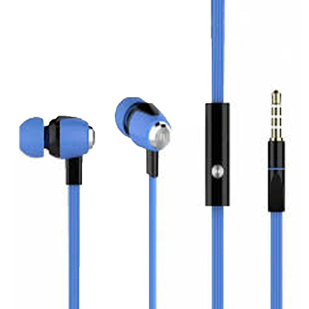 EAR PHONE Metal Dot Champ earphone with MIC – Flat Tangle Free Wires EZ198-BLUE - EZELLER